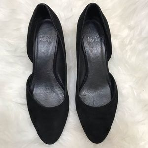 Eileen Fisher Lily Pump Suede D'Orsay Low Heel